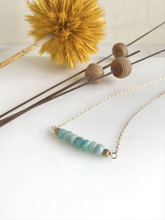 Short Amazonite Beaded Necklace. Delicate Colorful Boho Necklace. Simple Necklace. Layering Necklace. Gift for Her.