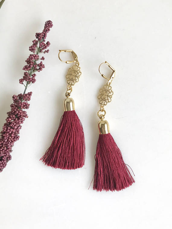 Burgundy Tassel Earrings. Holiday Tassel Earrings. Long Tassel Earrings. Gold Statement Earrings. Holiday Tassel Jewelry. Christmas