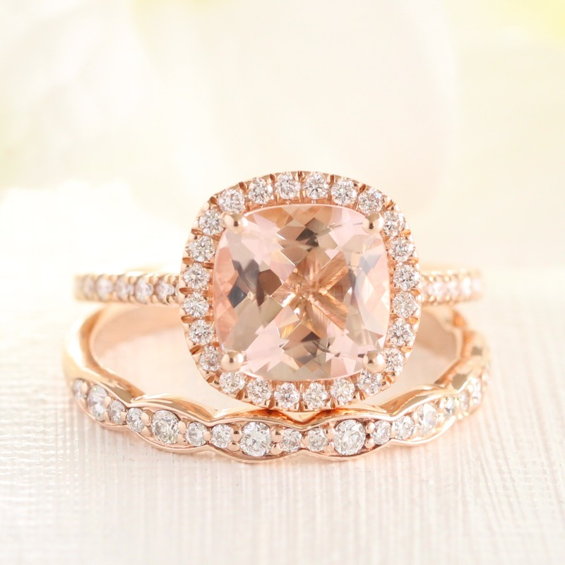 Cushion shaped Morganite halo diamond engagement ring with scalloped diamond wedding band ~
