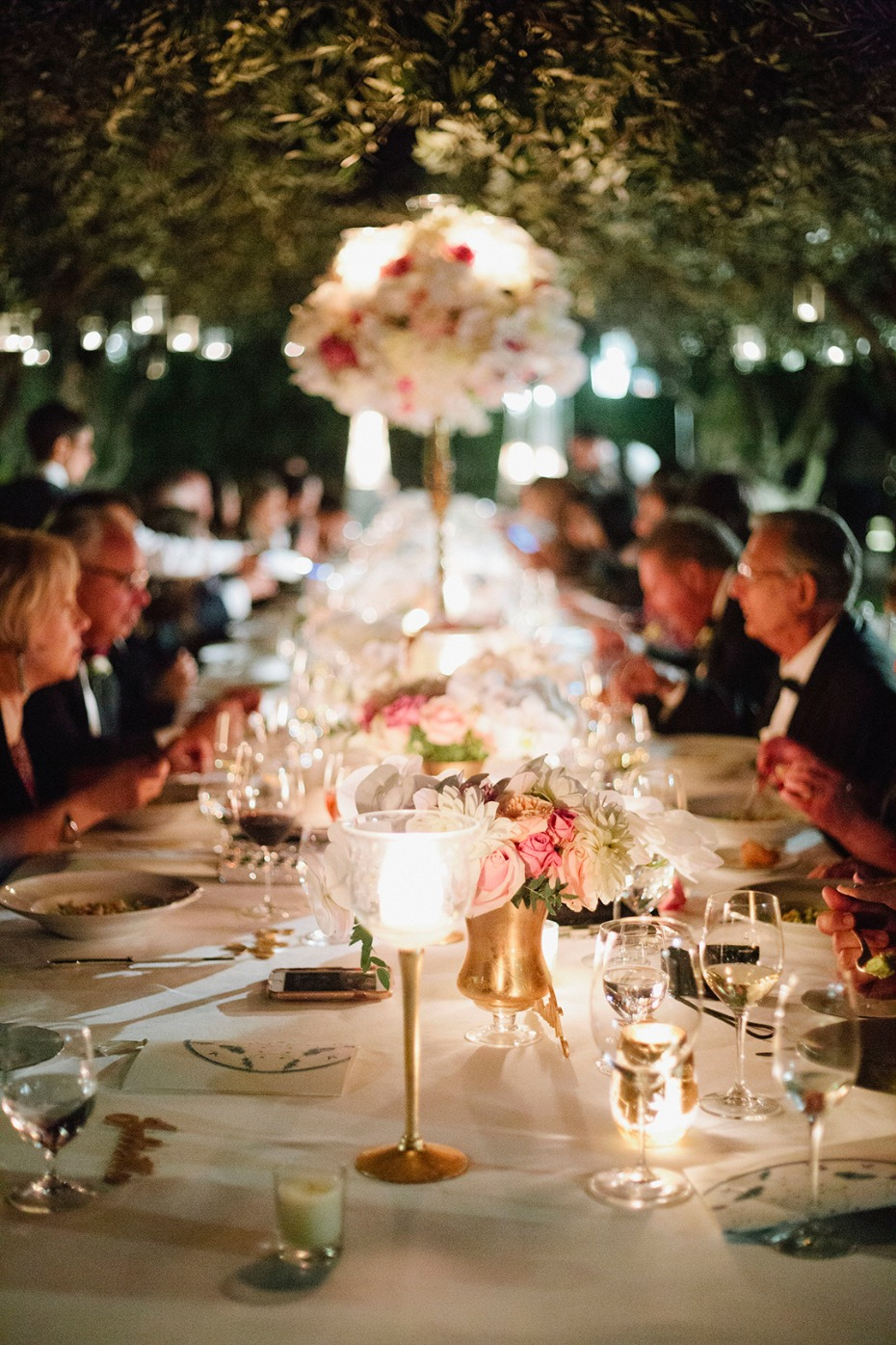candlelit wedding reception table