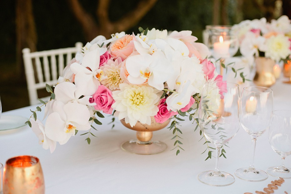 peach and pink and gold centerpiece