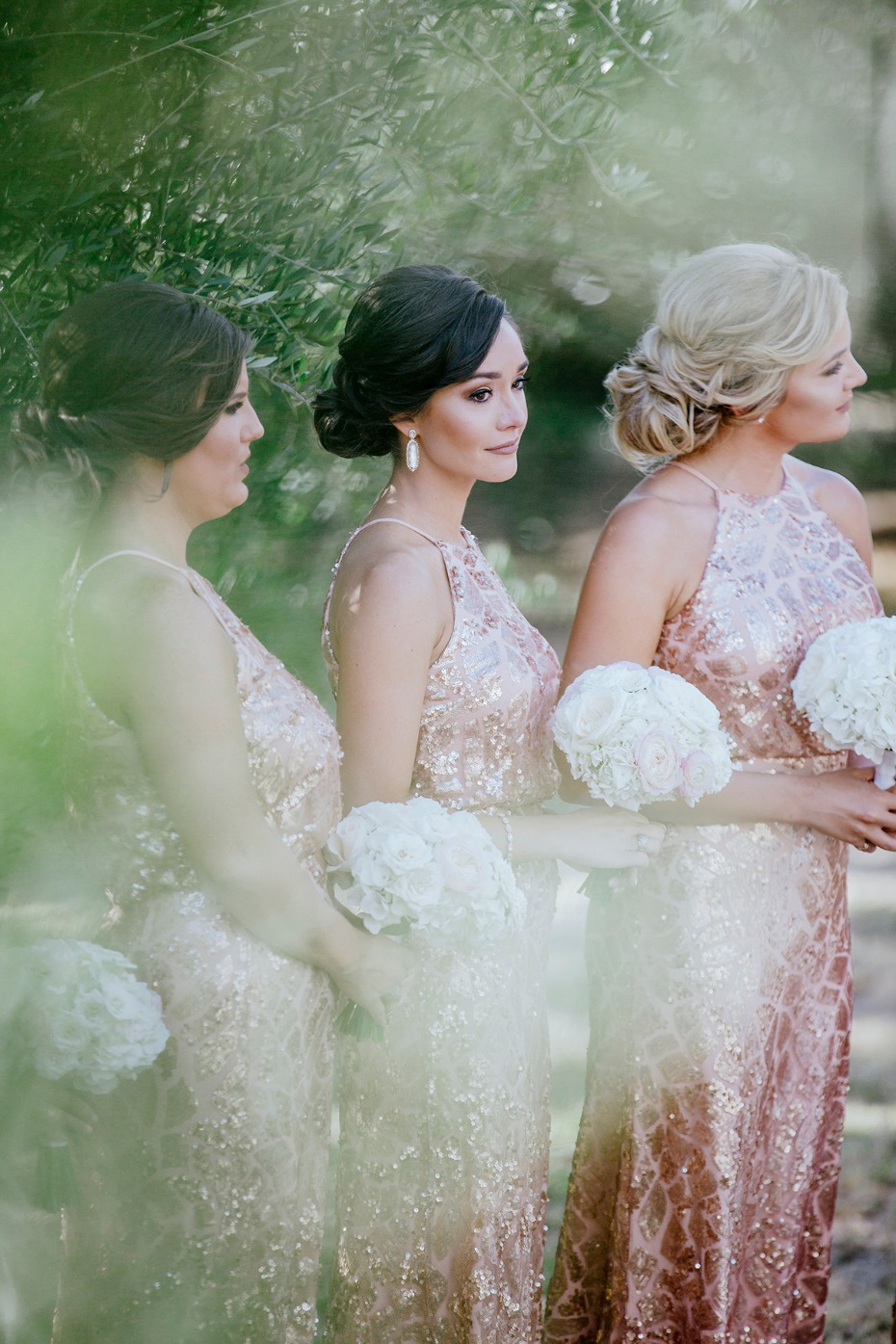 bridesmaids in rose gold
