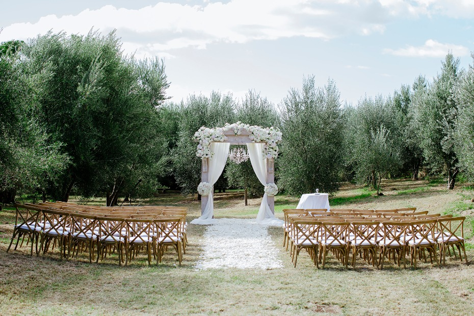 outdoor wedding ceremony with ultra chic decor