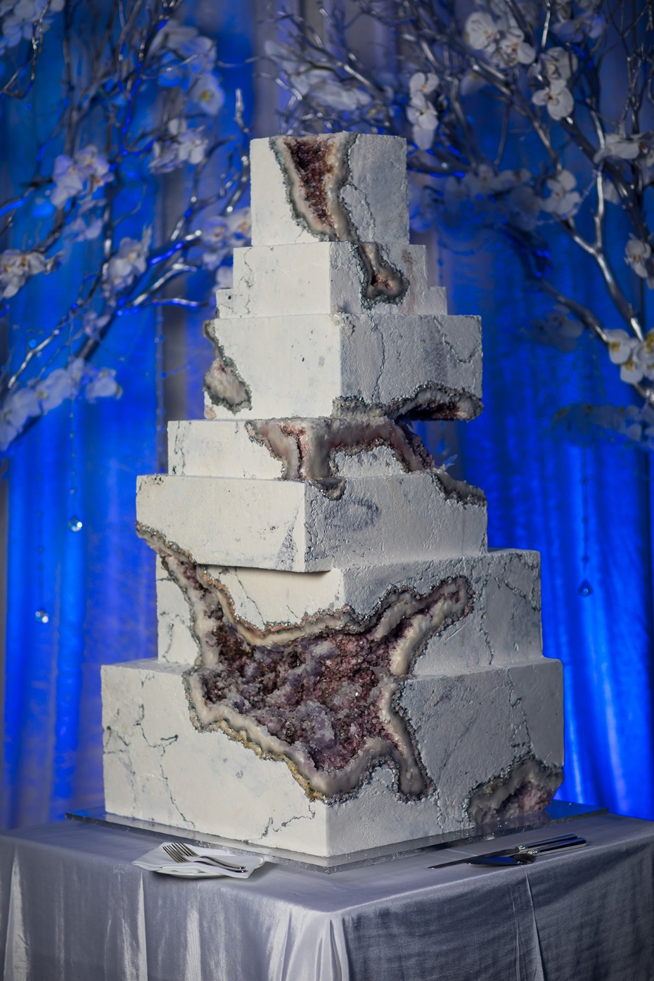 epic geode and marble inspired wedding cake