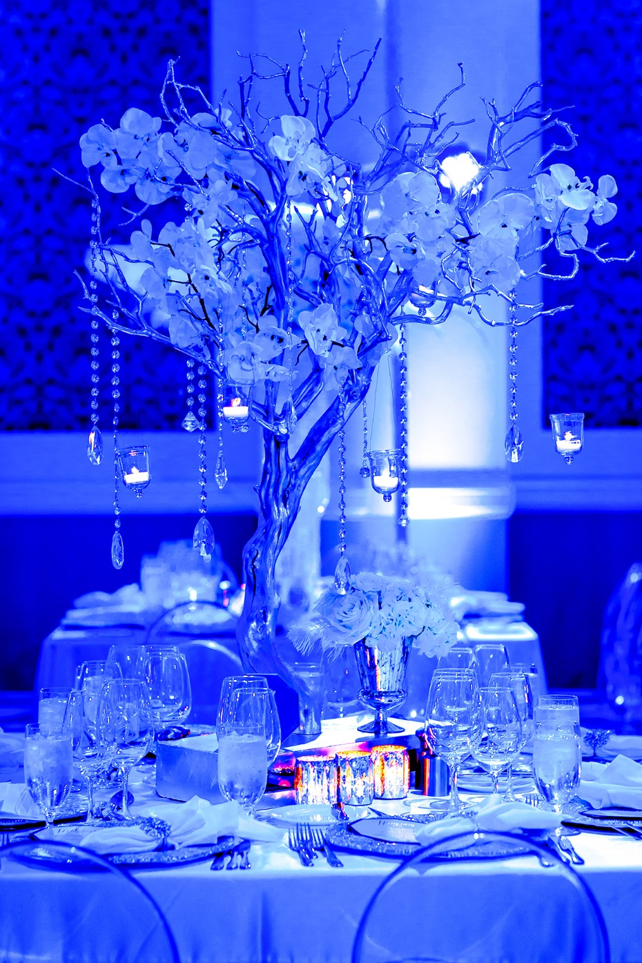 icy silver orchid tree centerpiece