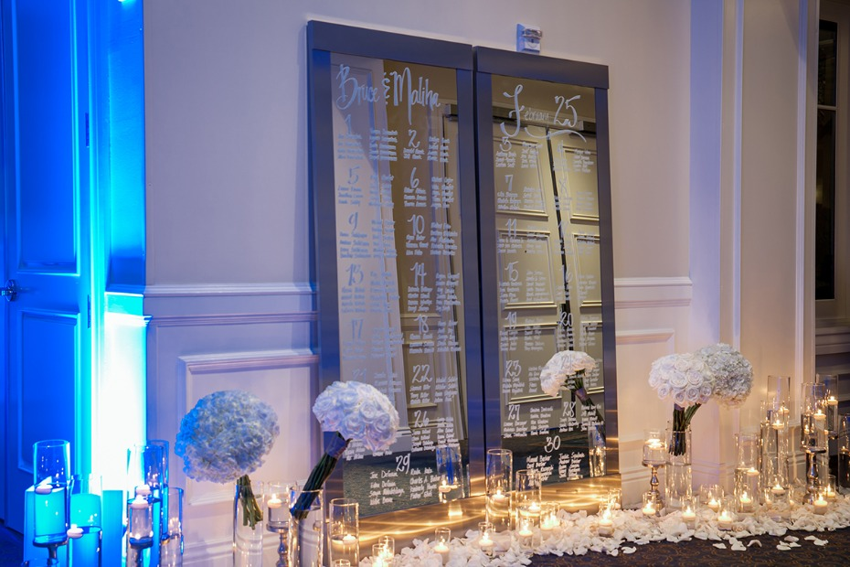 glowing wedding seating assignment table