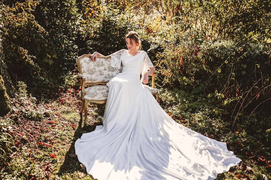 Silk wedding dress with lace sleeves