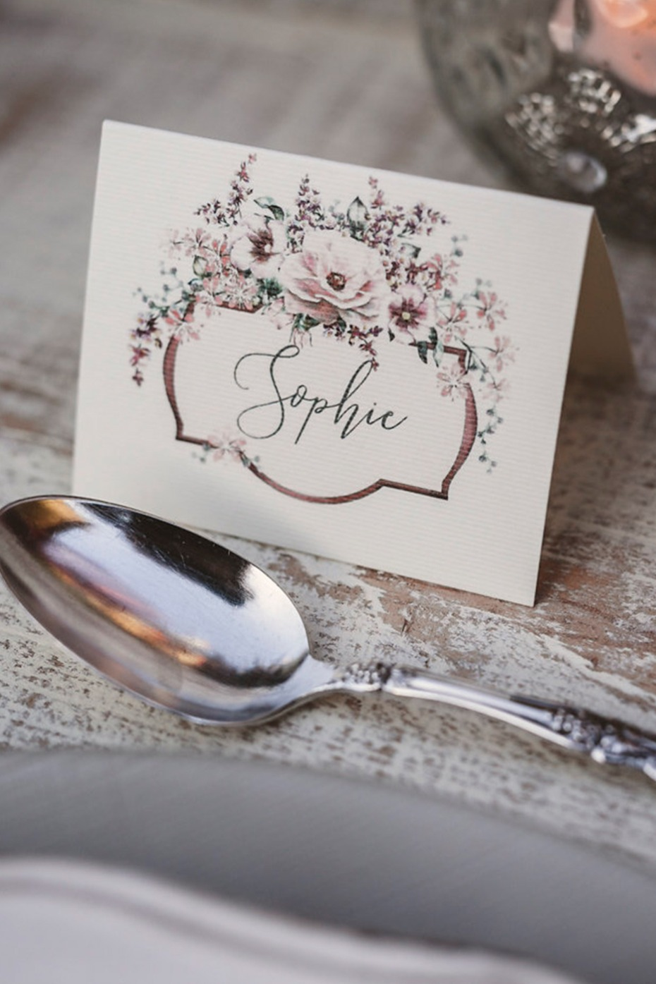 Calligraphy place card with florals
