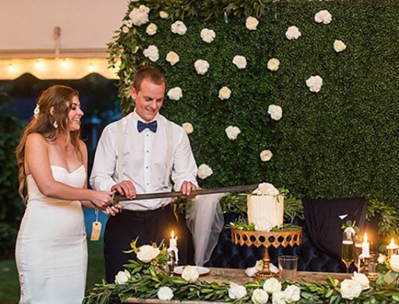 Love this picture of bride and groom cutting the cake! Opulent Treasures Cake Stands will spotlight your sweet celebration! We offer