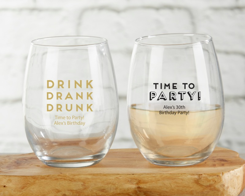 The search is over for great glassware favors that are fun, functional and even beautiful! This personalized 9 oz. Stemless Wine Glass