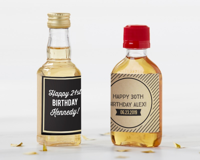 Mini liquor bottles are already cute, but they're even cuter when they feature your own personal details on your choice of label! These