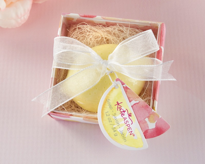 Give guests at your bridal shower or wedding a sweet dash of freshness with our Lovely Lemon Soap favors. Each decorative soap is shaped