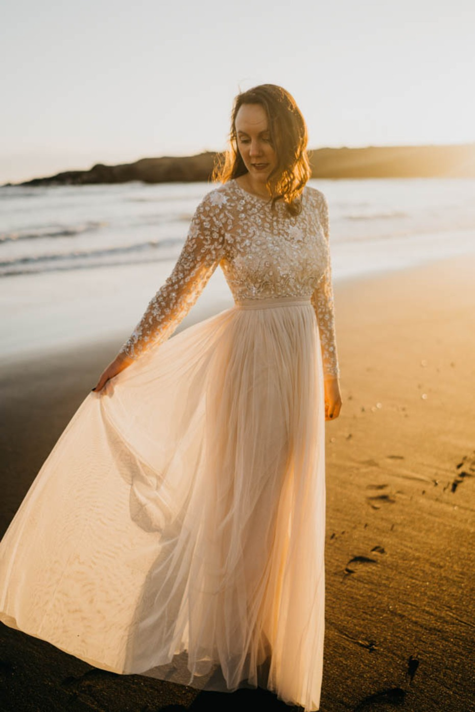 Elegant wedding dress for this Iceland elopement