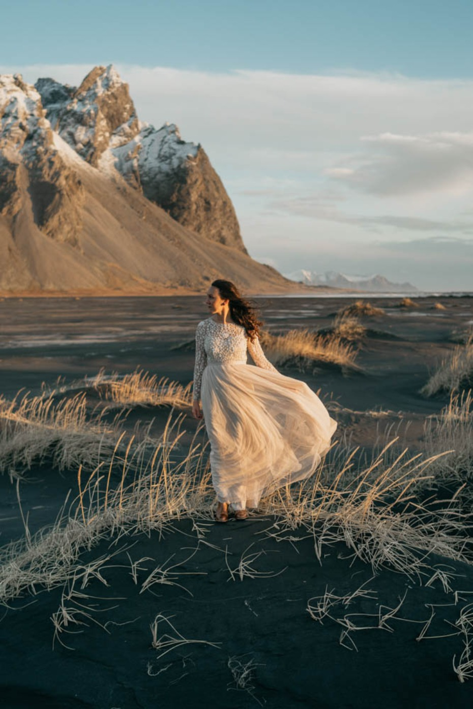 Dreamy wedding dress for this Iceland elopement