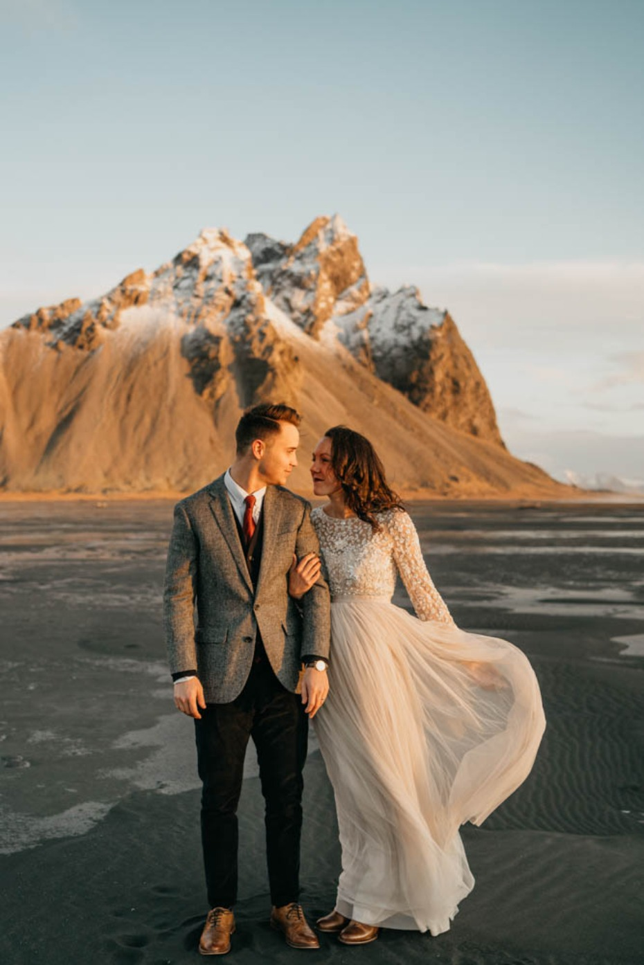 Romantic elopement in Iceland on a black sand beach