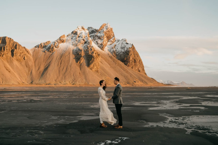 Gorgeous elopement in Iceland on a black sand beach