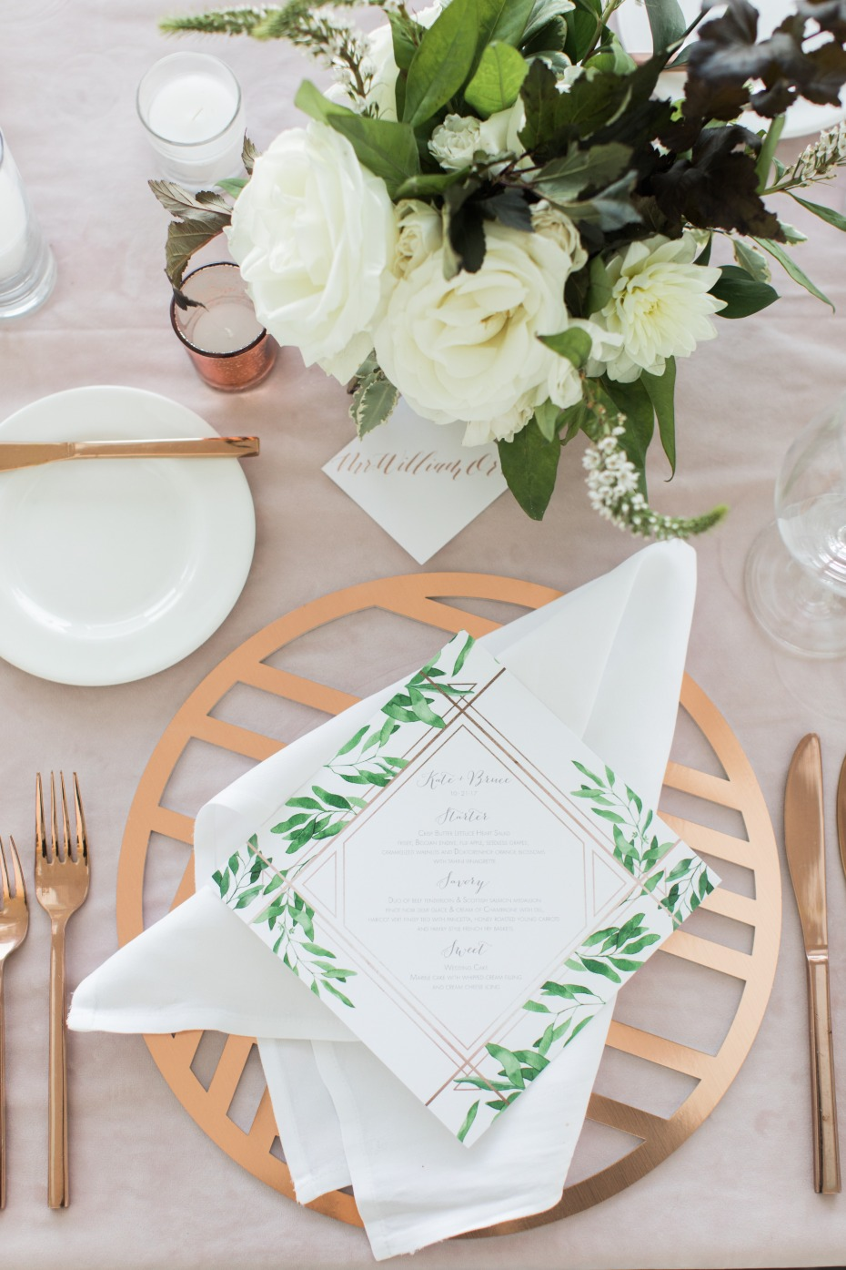 White, green and rose gold table setting
