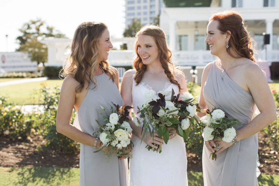 Grey bridesmaid dresses and white bouquets