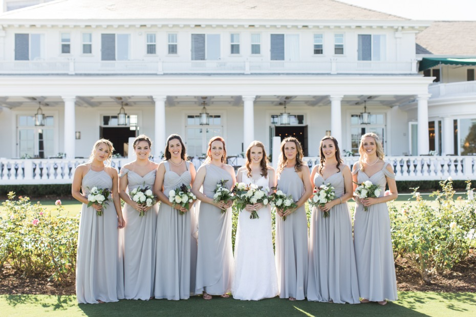 Grey bridesmaid dresses by Bill Levkov