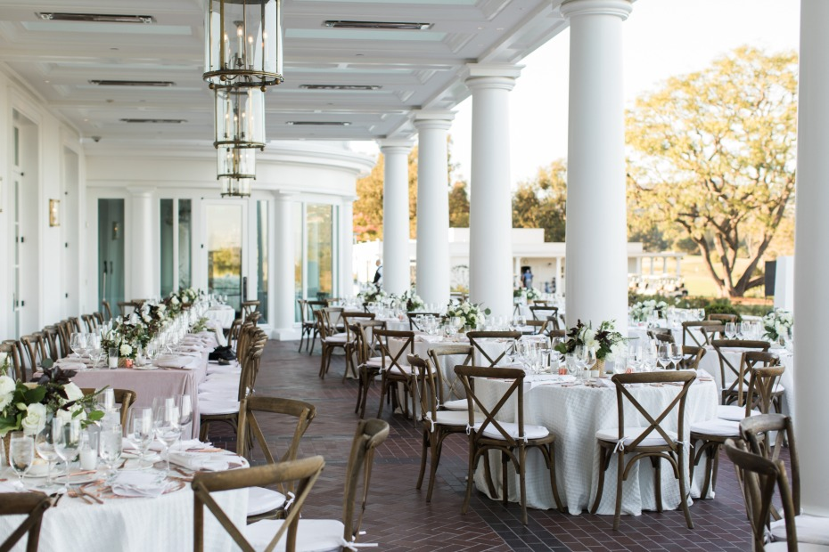 Outdoor reception space at Los Angeles Country Club
