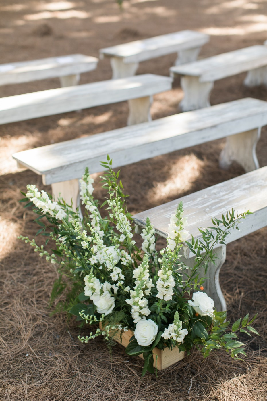Boxes of florals for the aisle