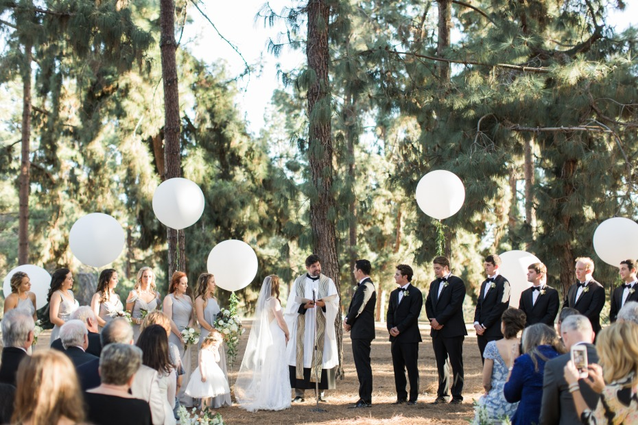 Outdoor balloon ceremony in the heart of LA