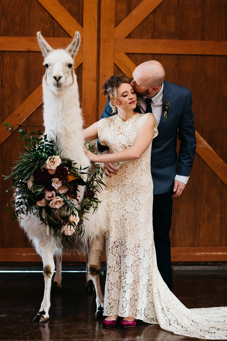 you and me and this llama on our wedding day
