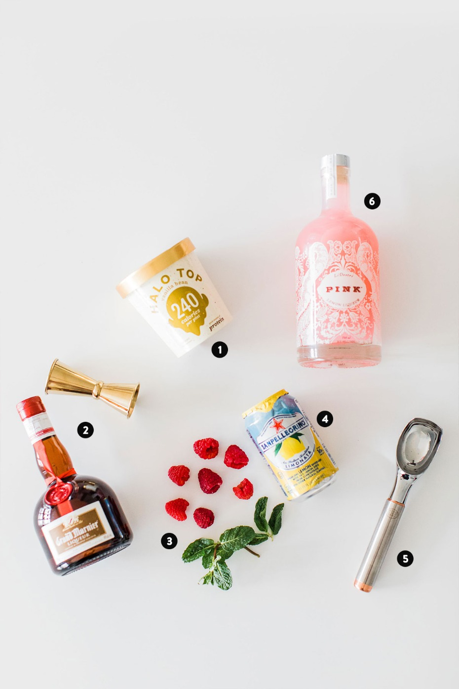 Ingredients For Sunset Ice Cream Float From LiDestri Pink Lemon Liqueur