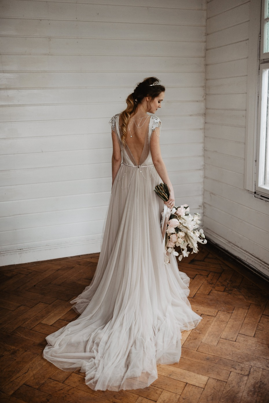 Soft smokey silver wedding dress with tulle train