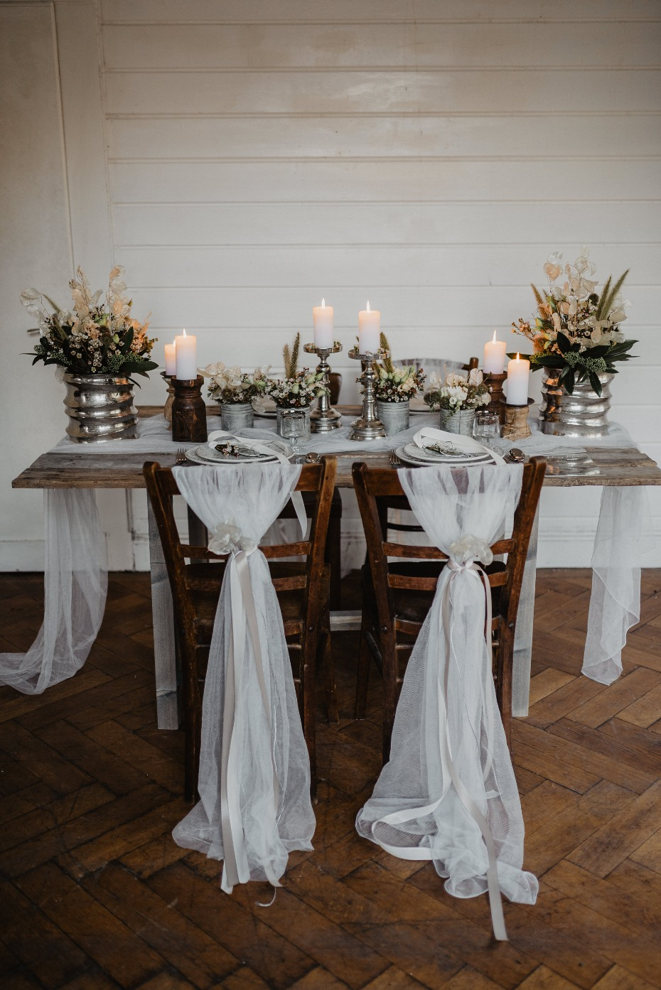 Rustic silver and white tablescape
