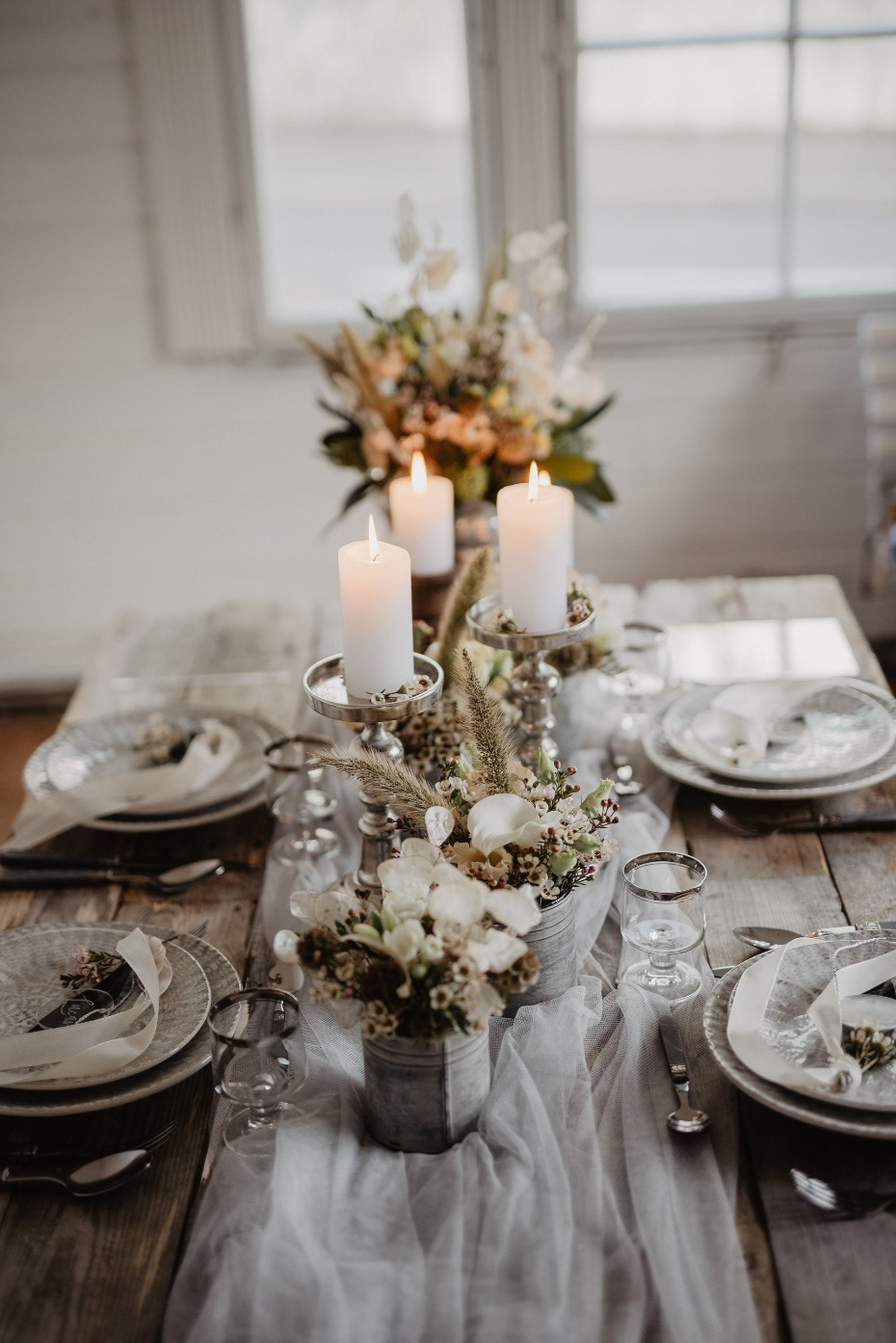 Silver and white centerpiece