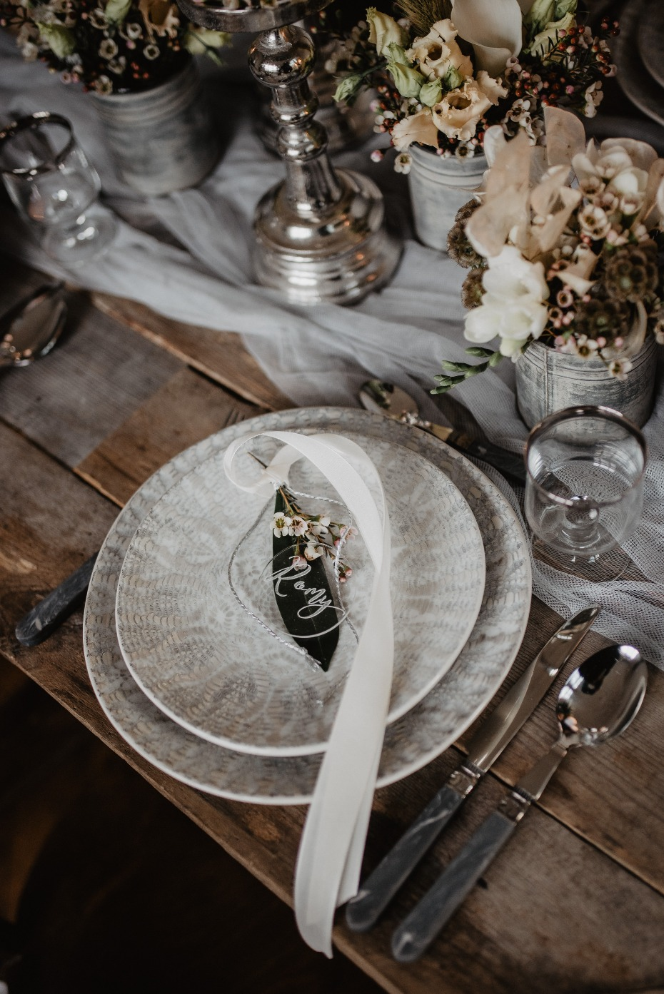 Rustic silver and white place setting