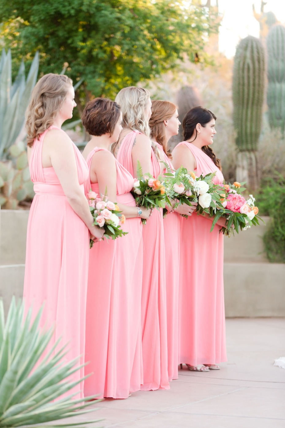 soft pink floor length bridesmaid dresses