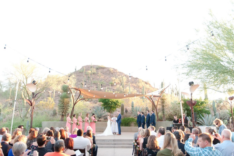 outdoor desert wedding ceremony at the Desert Botanical Garden