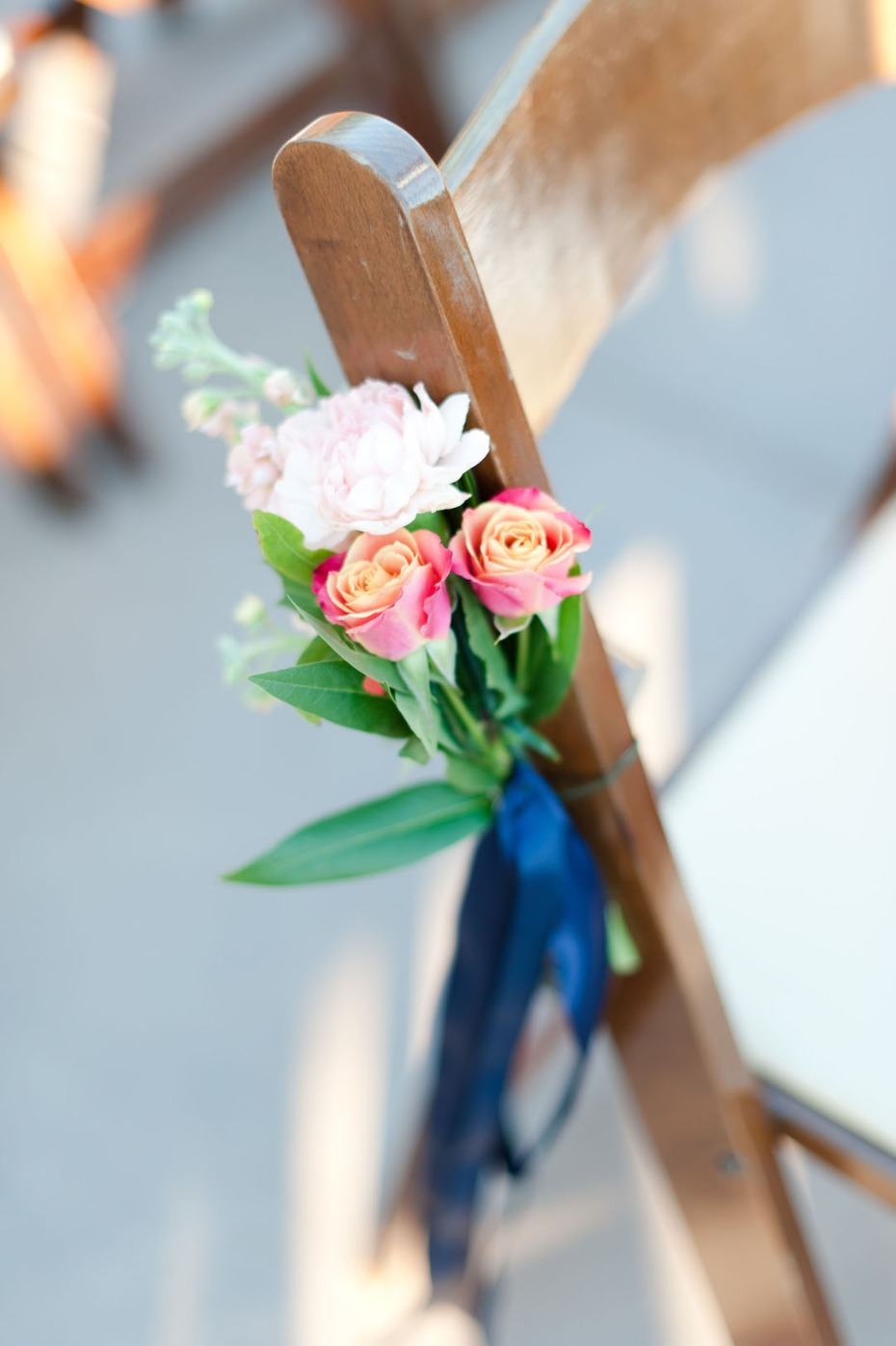 simple and sweet floral accented wedding aisle