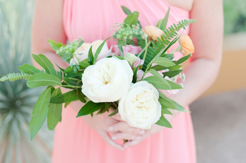 soft pink bridesmaid dress with loose bouquet