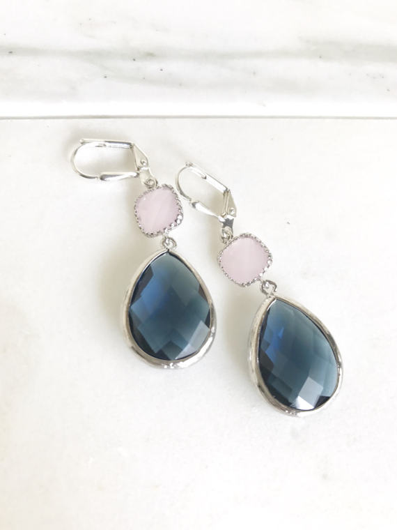 Sapphire Blue and Soft Pink Dangle Earrings in Silver . Bridesmaid Earrings. Navy Blue Pink Dangle. Drop. Bridemaids Gift.