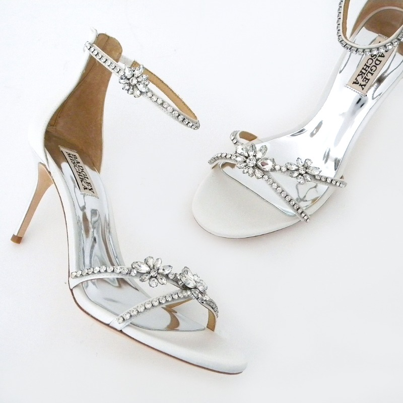 Cutest Bridal Sandals ever! Delicate silk white straps are adorned with a chain of sparkling rhinestones and finished with strategically