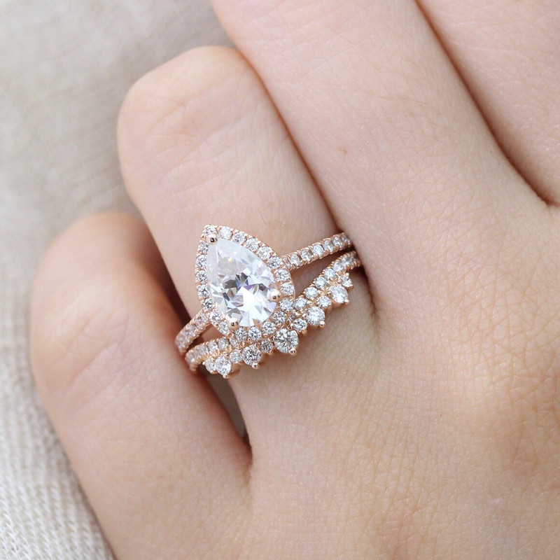 Pear shaped Forever One Moissanite Halo Diamond ring and Crown Diamond Wedding band bridal set ~