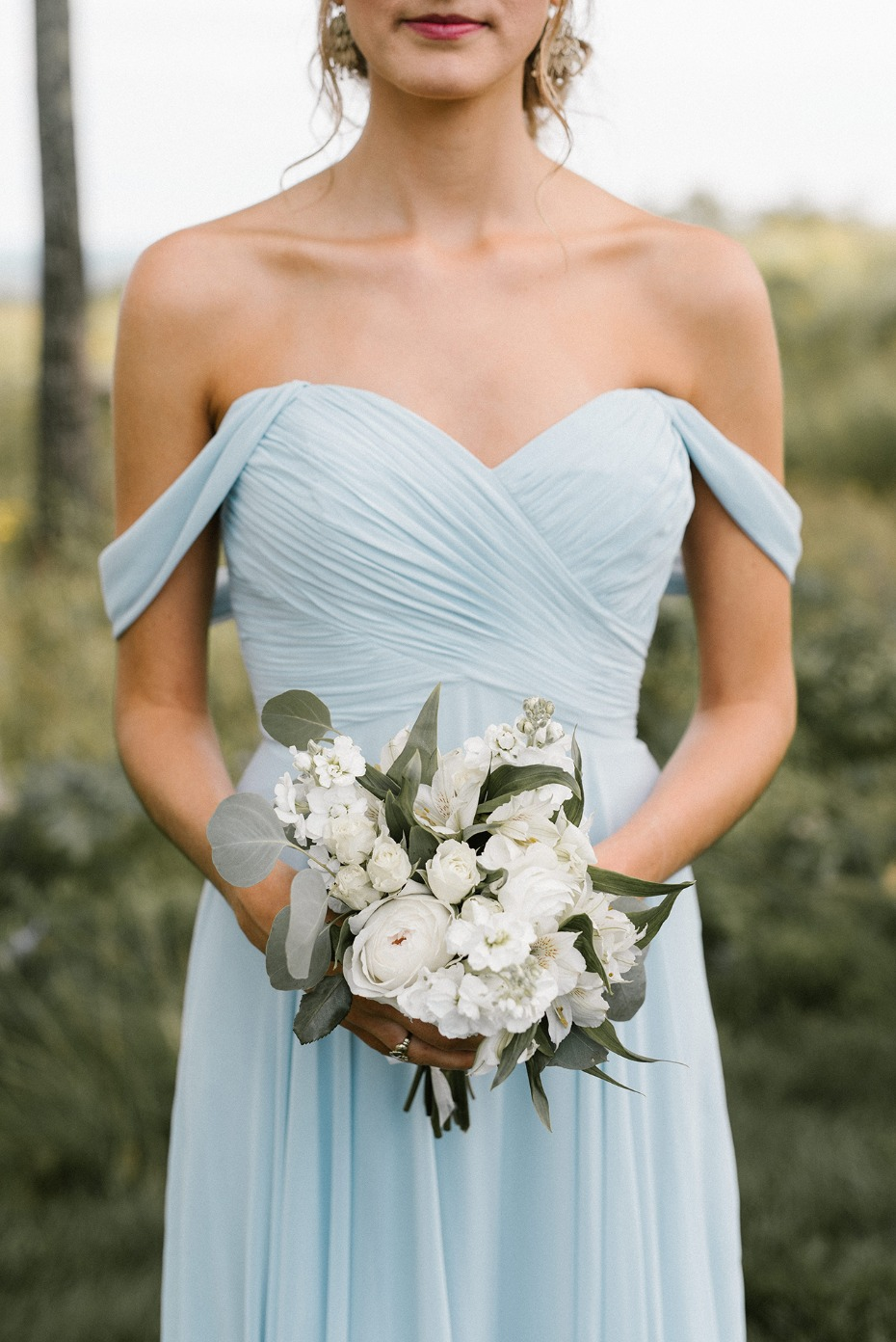 Light blue off shoulder bridesmaid dress