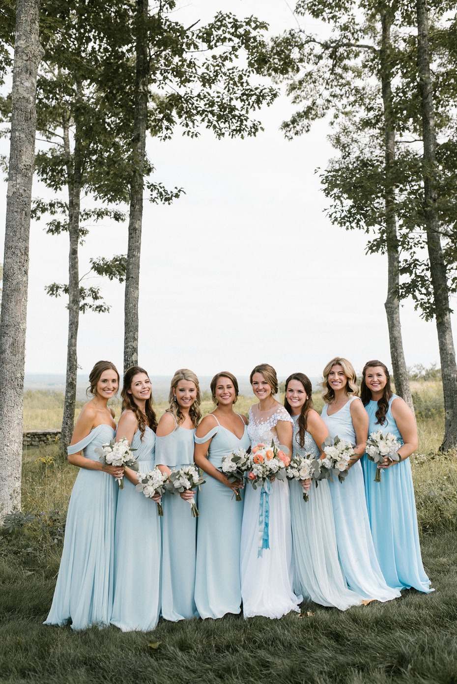 Mix and match bridesmaid dresses in light blue