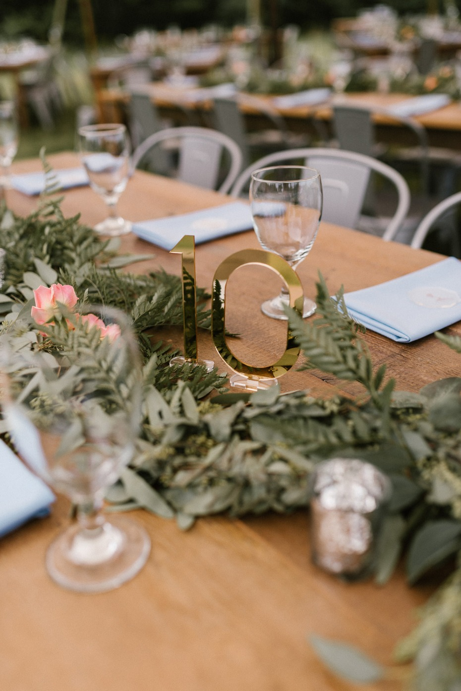 Mirror table number and greenery centerpiece
