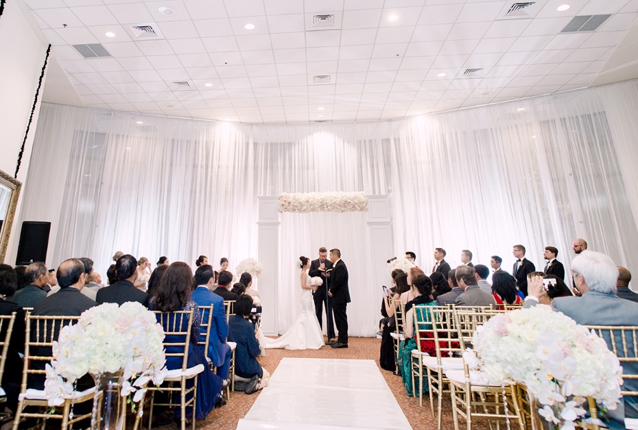 all white ballroom wedding ceremony