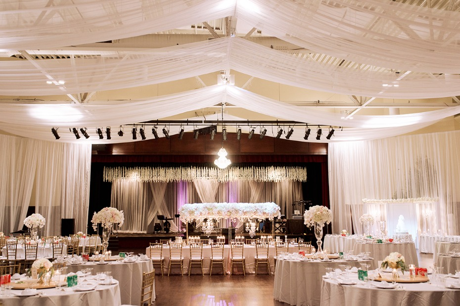 ballroom wedding reception in white and blush
