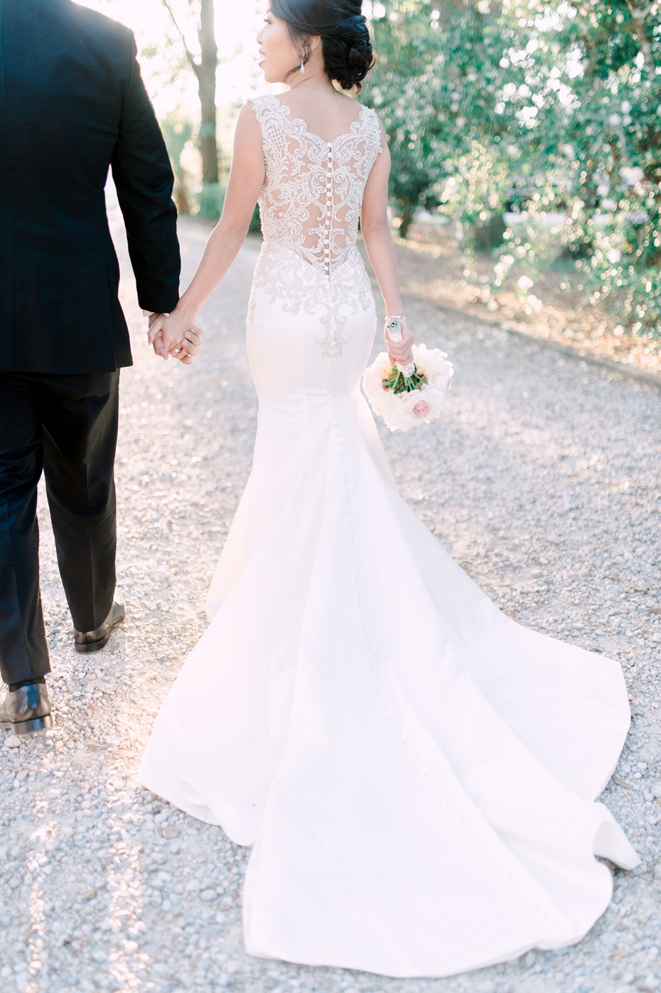 glamorous wedding dress with elegant wedding sheer back
