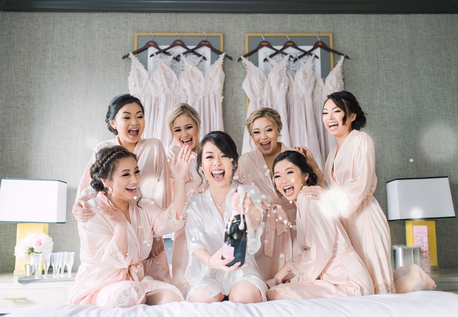cute and fun bridesmaids and bride photo op