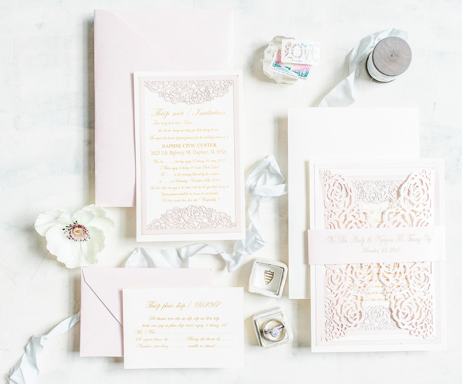 glamorous blush and white wedding