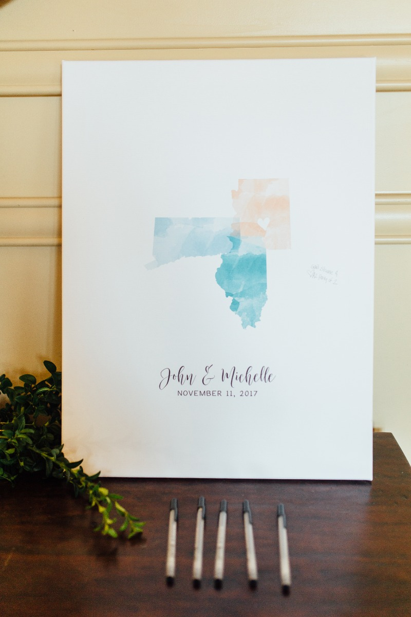 This couple couldn't choose just one state, so they chose three!! This custom watercolor guest book alternative from Miss Design Berry