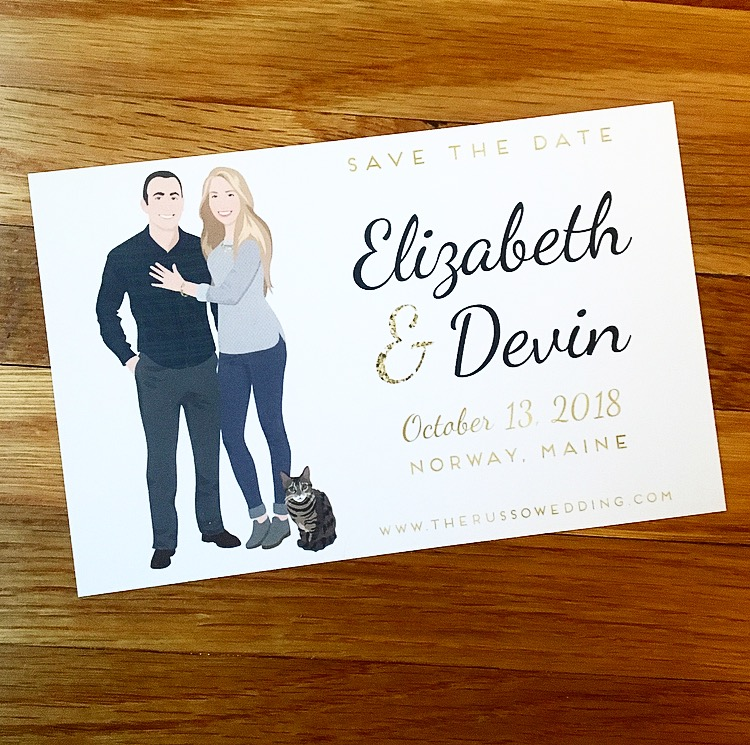 Are you still looking for an awesome Save the Date? Miss Design Berry has custom couple portrait save the dates that will knock the