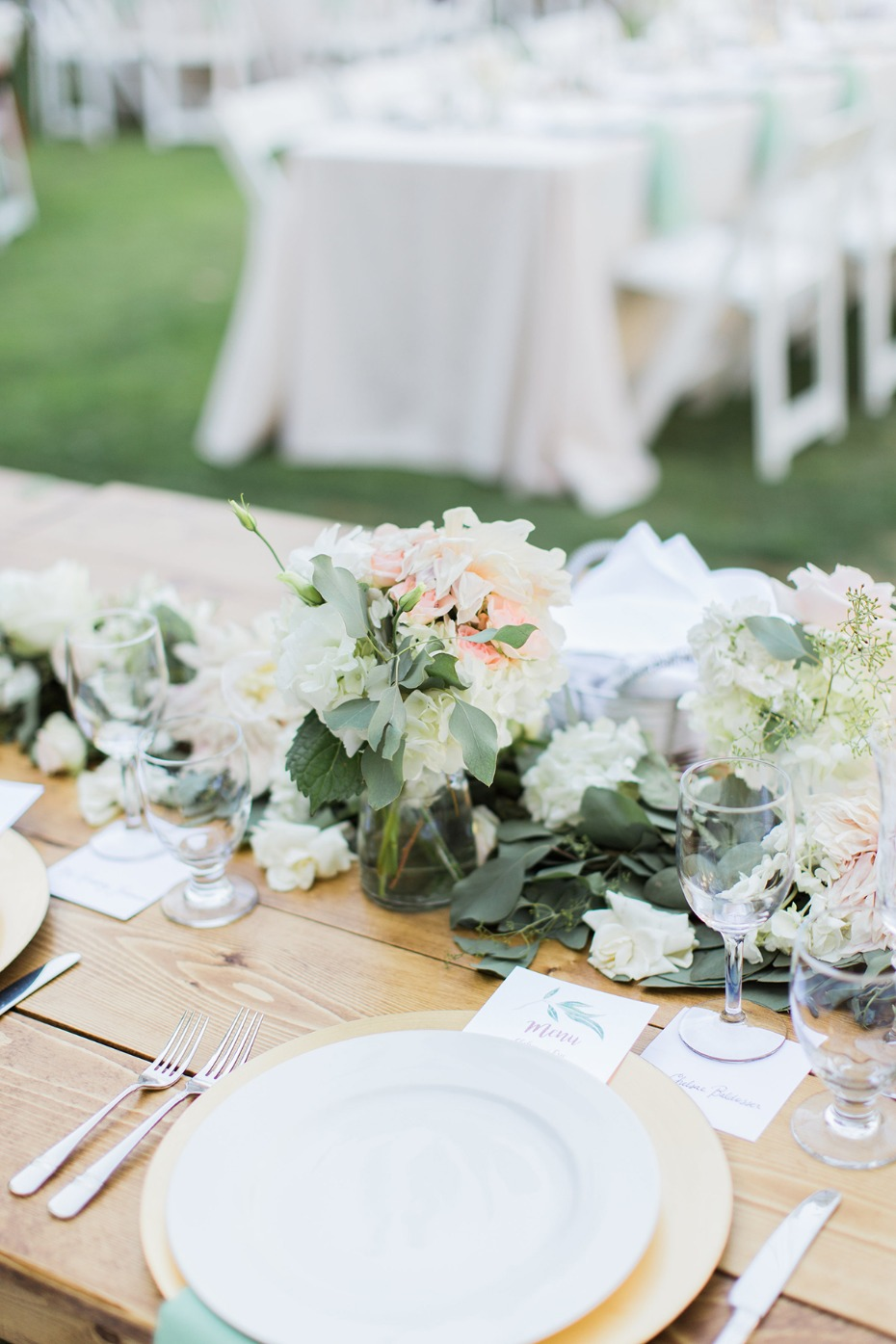 blush and gold garden party wedding table decor